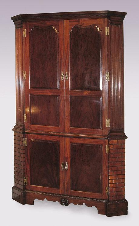 Antique Mid-18th Century Mahogany Corner Cupboard