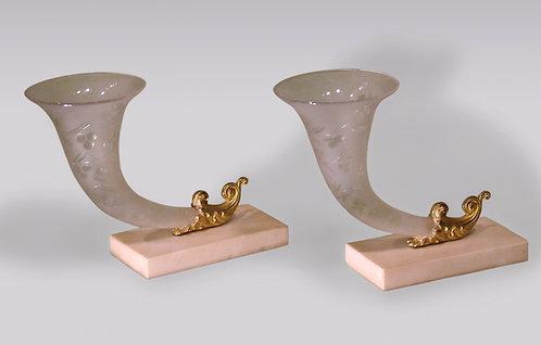 Pair of Mid-19th Century Engraved Glass Cornucopia