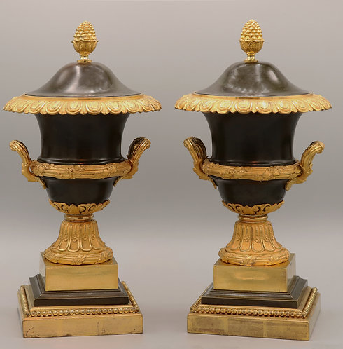A Pair of Early 19th Century Bronze and Ormolu Urns and Covers
