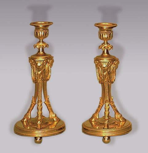 Well Cast Pair of Mid-19th Century Ormolu Candlesticks
