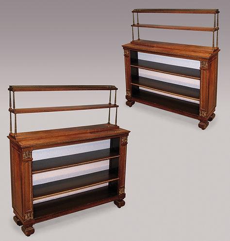 Pair of 19th Century Regency Period Rosewood Open Bookshelves