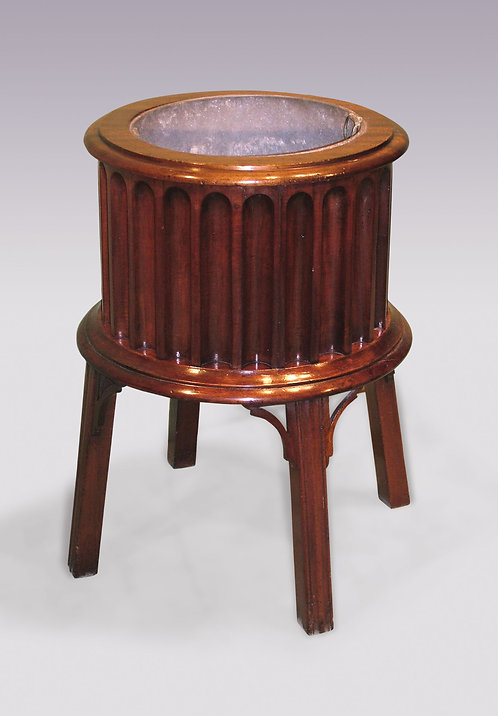 George III Period Mahogany Drum-Shaped Jardiniere