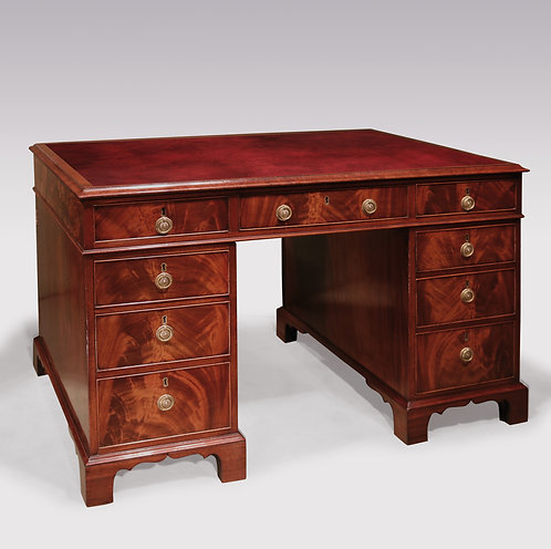 Late 18th Century Flame-Figured Mahogany Pedestal Desk