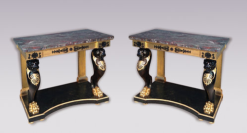 Pair of Regency Period Gilt and Ebonized Console Tables