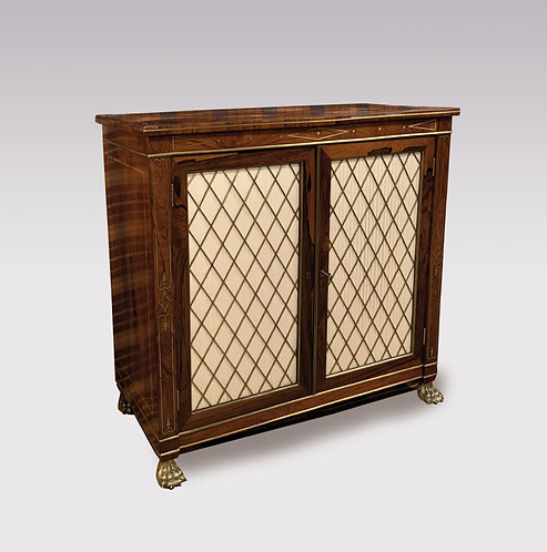 Early 19th Century Regecy Period Rosewood and Brass Inlaid Two Door Cabinet