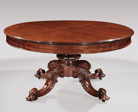 Impressive 19th Century Mahogany Dining Table with Unusual Wind-Out Mechanism