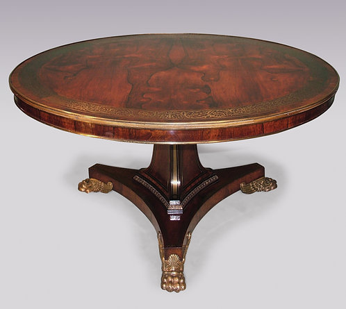 Important Regency Period Rosewood Centre Table with fine brass inlay and mounts