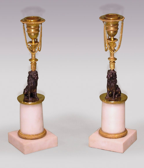 Pair of 19th Century Bronze Ormolu and Marble Lion Candlesticks