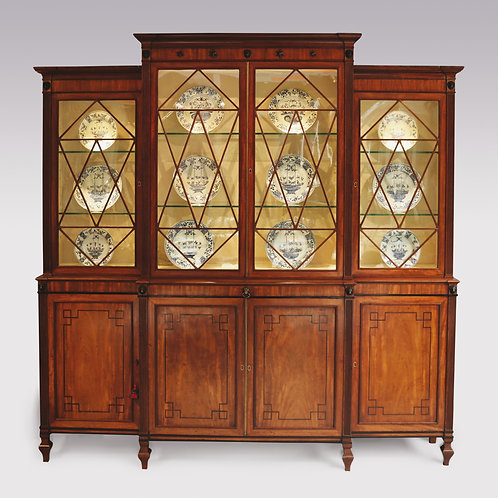 19th Century Regency mahogany Breakfront Bookcase, Gillows of Lancaster Style