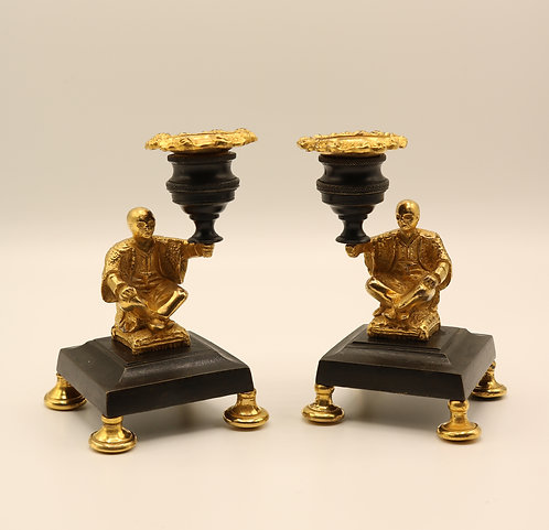 Bronze and Ormolu Chinese Candlesticks