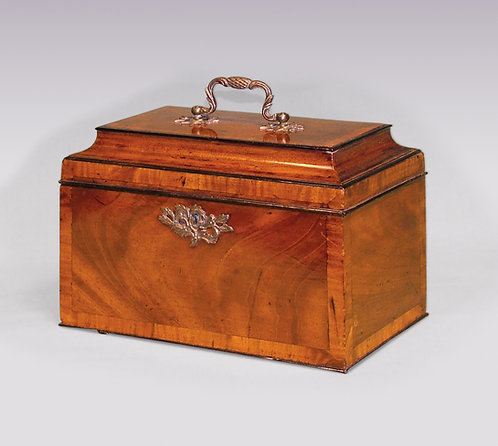 Chippendale Period Mahogany Tea Caddy with Concave-Shaped Lid