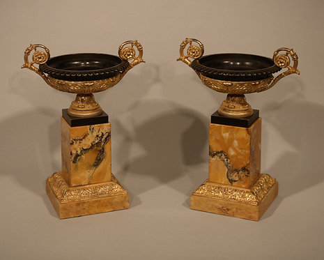 Pair of 19th Century Bronze and Ormolu Tazzas