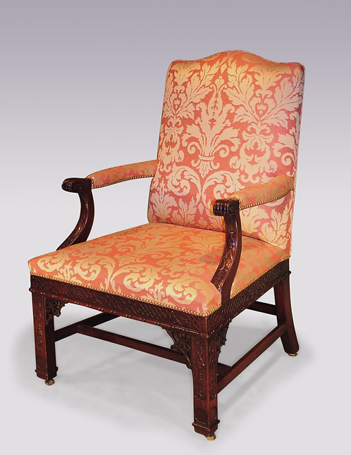 19th Century Chippendale Style Mahogany Gainsborough Armchair
