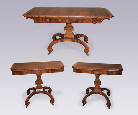 Suite of Regency rosewood satinwood banded and inlaid Drawing Room Furniture