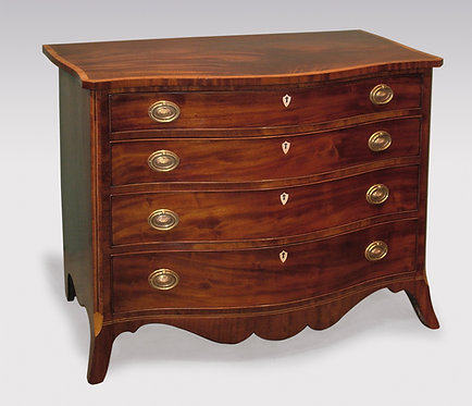 Mid-18th Century George III Period Mahogany Serpentine Chest of Drawers