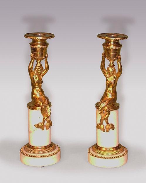 Pair of Regency Period Ormolu Mermaid Candlesticks
