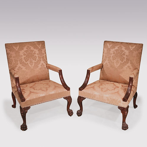 Pair of 18th Century Chippendale period Gainsborough Library Armchairs