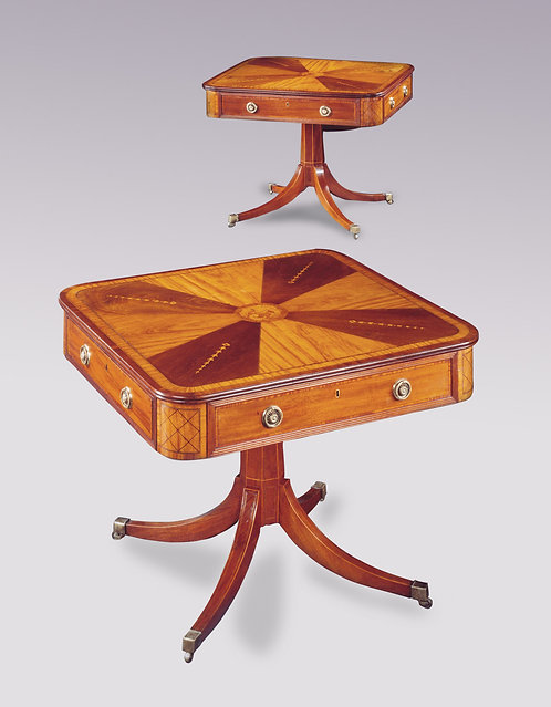 Pair of Irish 19th Century Mahogany and Satinwood Centre Tables