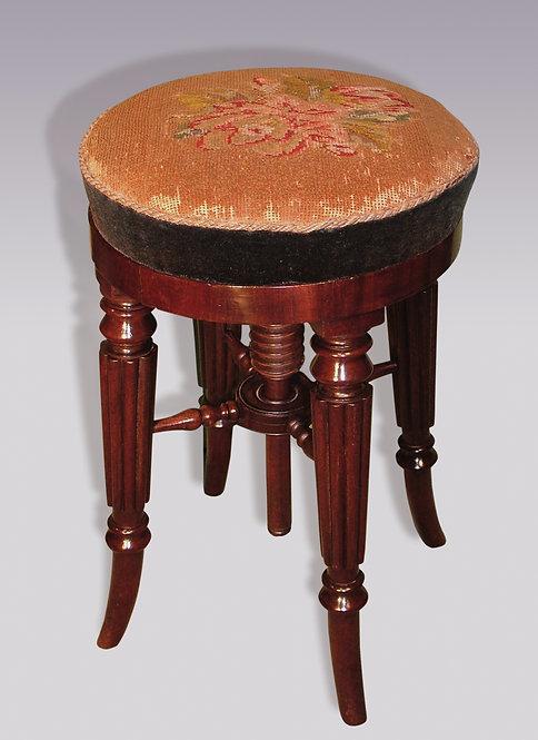 Regency Period Mahogany Adjustable Piano Stool