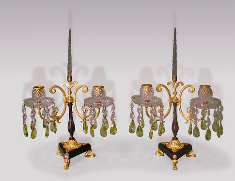 Pair of Early 19th Century Two-Light Lustre Candelabra