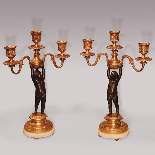 Mid 19th Century bronze and ormolu 3-light Cherub Candelabra