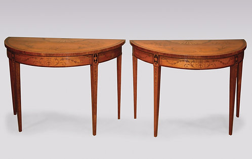 Fine pair of antique Sheraton period satinwood Console Tables.