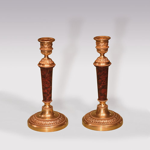 Small Pair of mid 19th Century Ormolu and Red Marble Candlesticks