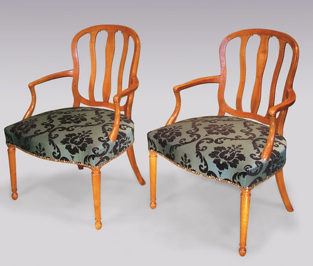Pair of 18th Century Continental Satinwood Armchairs