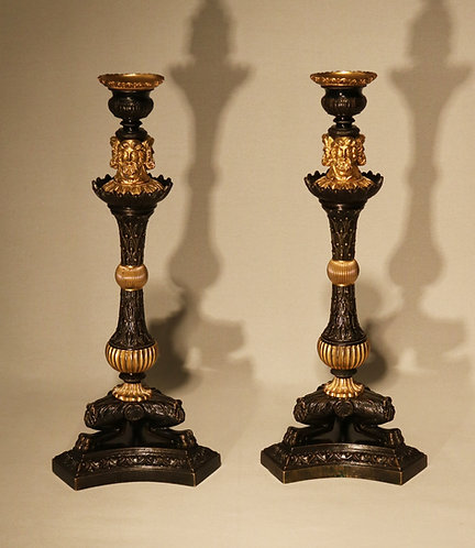 Pair of Bronze and Ormolu Triform Ballstem Candlesticks