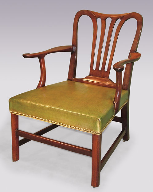Large Mid-18th Century Mahogany Library Armchair