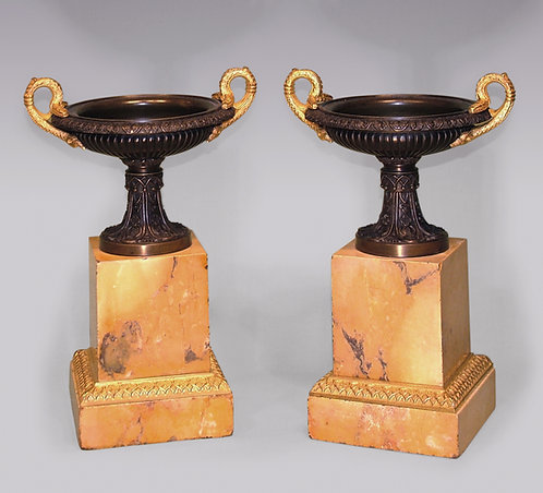 Pair of 19th Century Bronze, Ormolu and Marble Tazzas