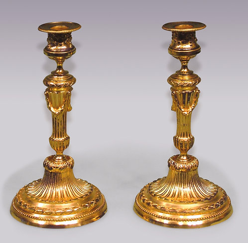 Pair of Louis XVI Style Ormolu Candlesticks SOLD