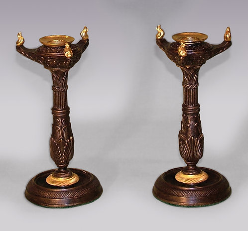 Pair of Regency Period Bronze and Ormolu Gothic Candlesticks