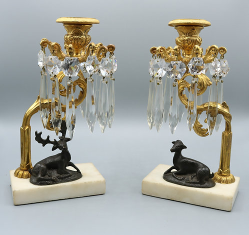 Pair of early 19th Century Regency period bronze and ormolu Lustre Candlestick