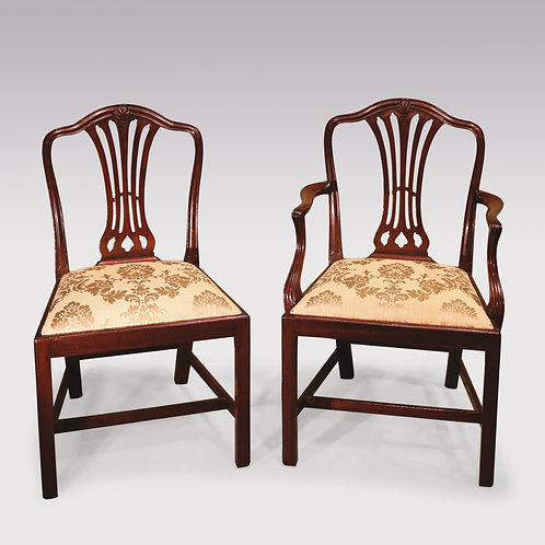 12 Single and 2 Arm late 19th Century Hepplewhite style Camelback Dining Chairs