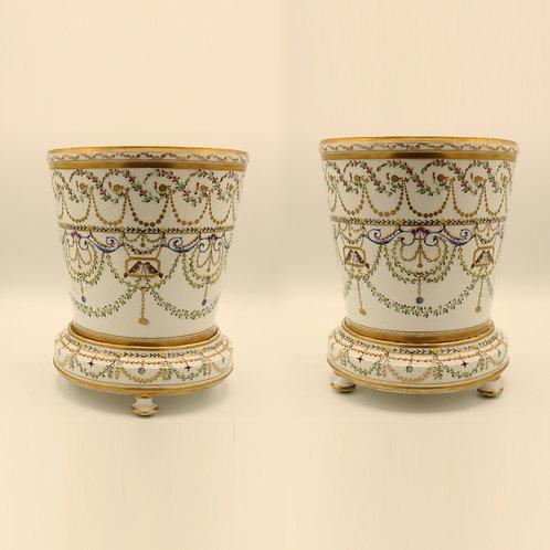 Pair of mid 19th Century Paris porcelain Cache-pots SOLD