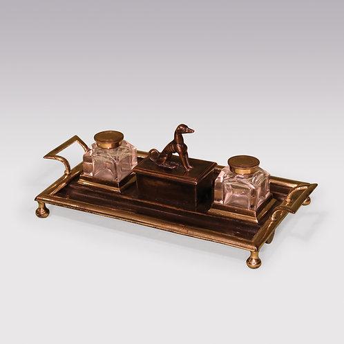 19th Century Regency period rectangular bronze & ormolu Pentray