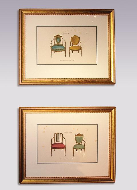 Pair of Mid-19th Century George Hepplewhite Furniture Prints