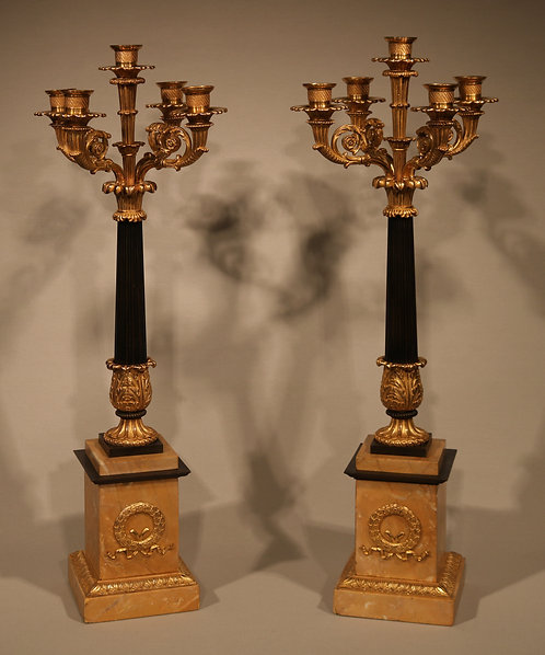 Pair of early 19th Century bronze and ormolu 5-light Candelabra