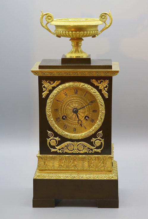 19th Century French Bronze and Ormolu Eight Day Silk Suspension Striking Clock