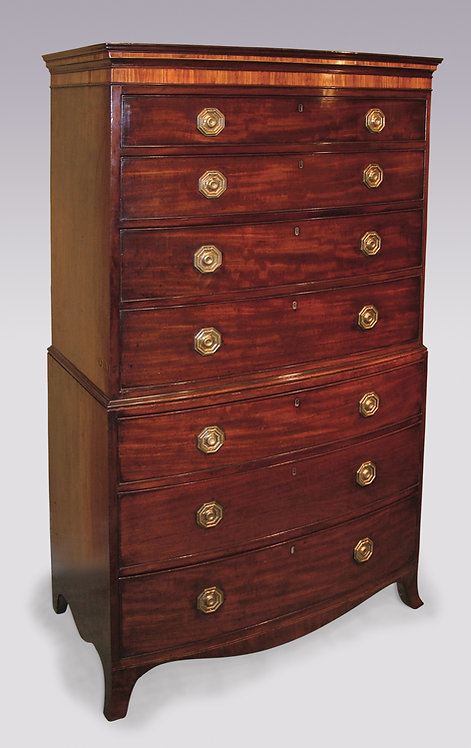 Antique Late 18th Century Mahogany Bow-Fronted Tallboy