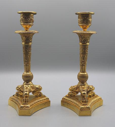 A Pair of Small 19th Century Ormolu Triform Candle Sticks