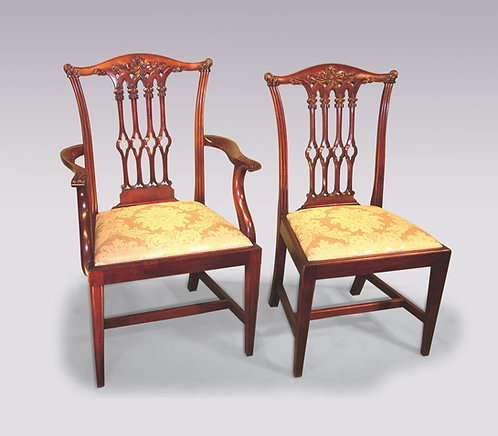 Set of six plus two 19th Century Chippendale Style Mahogany Dining Chairs