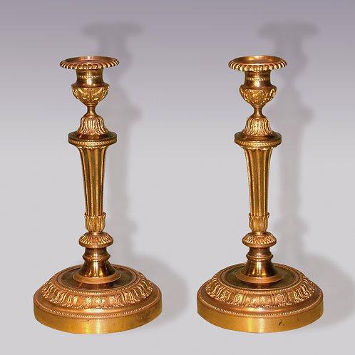 Pair of Mid-19th Century Louis XVI Style Ormolu Candlesticks