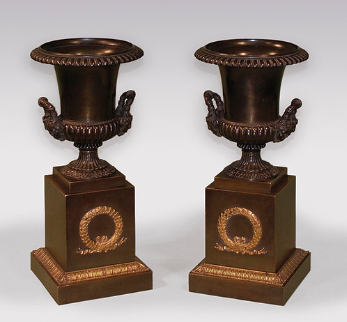Pair of Early 19th Century Bronze and Ormolu Campana Shaped Urns