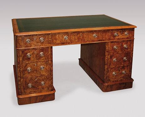 Mid-19th Century Walnut and Burr Walnut Pedestal Desk