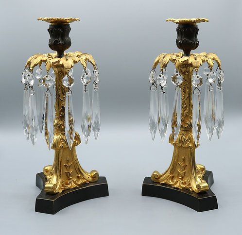 Bronze & Ormolu Lustre Candlesticks. SOLD