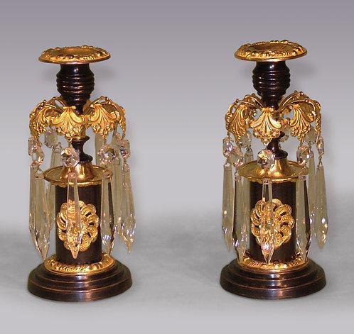 Pair of 19th Century Bronze and Ormolu Lustre Candlesticks