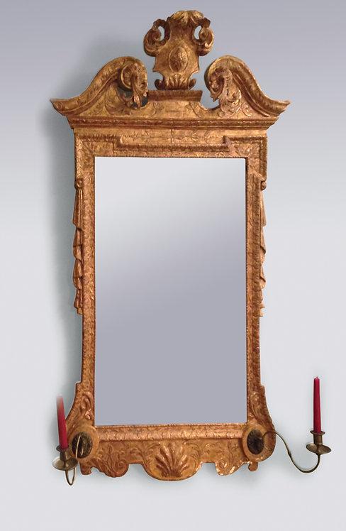Early 18th Century George II Period Gilt Gesso Mirror