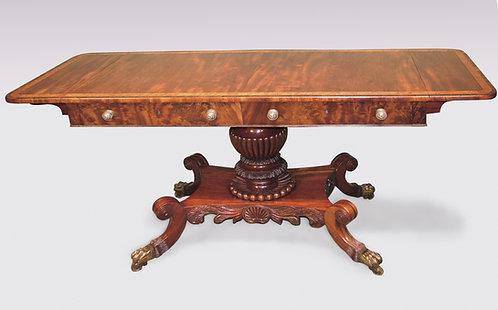 Regency Period Sofa Table on Center Pedestal Base